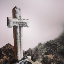 Grave marker atop Old Snowy Mountain