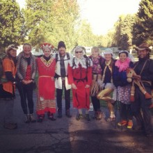 Meeting up with some fellow hikers in fancy dress
