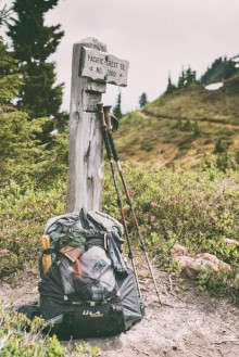 My pack at a PCT trail junction