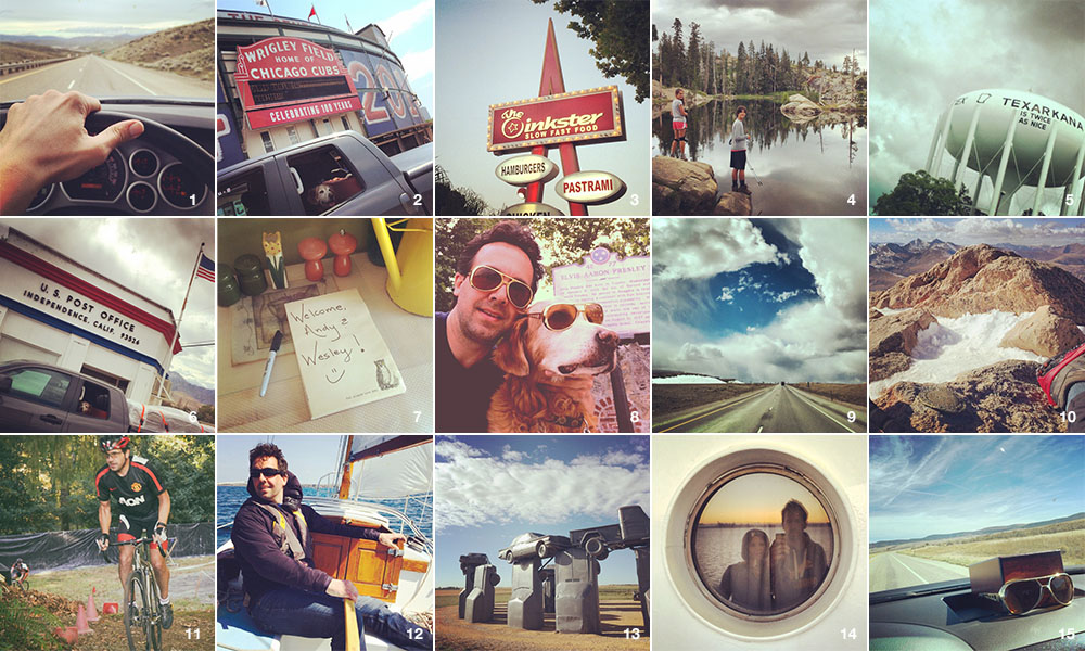 1) the road through eastern Oregon; 2) Wrigley Field in Chicago; 3) My favorite burger place in Los Angeles; 4) Hiking with my niece and nephew in Lake Tahoe, California; 5) the road through Arkansas; 6) Route 395 through Independence, California; 7) Arriving BJ's place in Los Angeles; 8) Wes and I outside Graceland in Memphis; 9) the road through Wyoming; 10) summiting 14,000 feet Mt. Bierstadt in Colorado; 11) racing cyclocross in Portland, Oregon; 12) sailing on Lake Ontario in Rochester, New York; 13) Carhenge in Nebraska; 14) ferry to Bainbridge Island, Washington with Allison; 15) remembering Wes on a lonely road through Missouri.