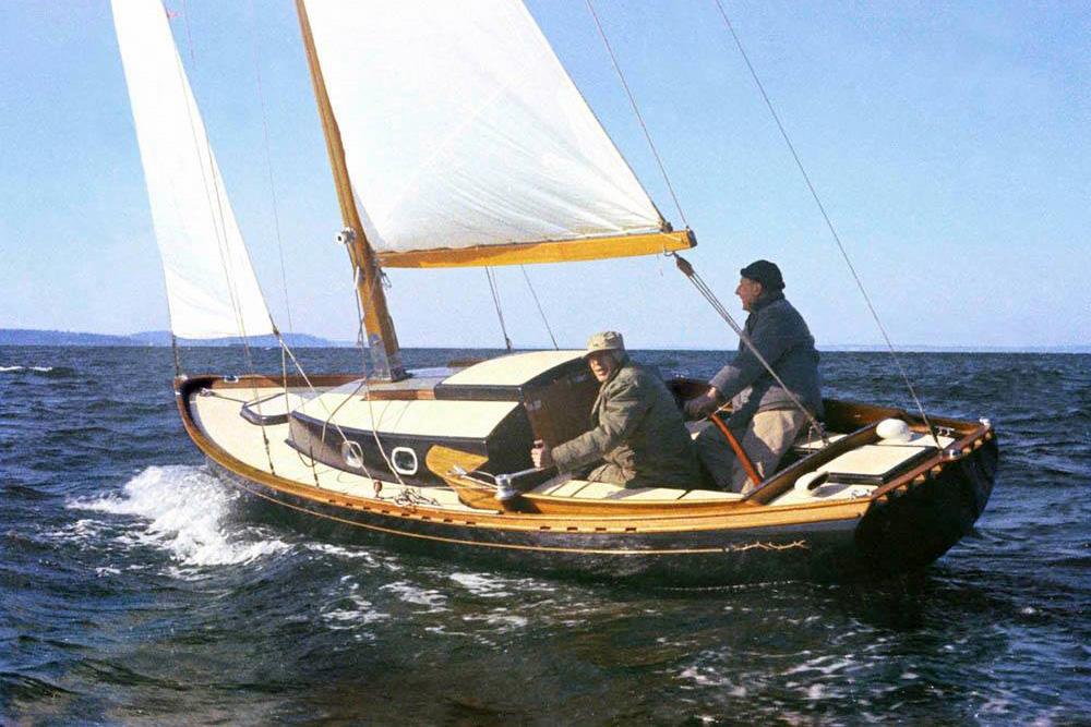 Heritage sailboat on Elliot Bay in Seattle, WA